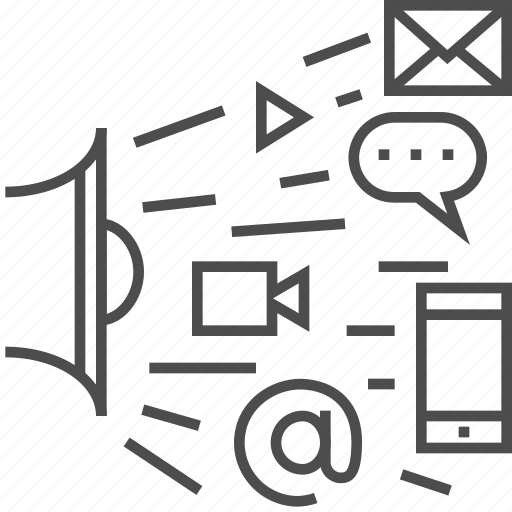 digital, loudspeaker, mail, marketing, video icon