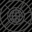 analytics, chart, data, globe, graph, pie, seo icon
