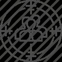 aim, audience, avatar, people, target, targeting, user icon