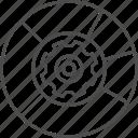 chart, data, data management, gear, graph, management, pie icon