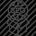 box, globe, marketing, package, seo, services icon