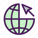 arrow, globe, internet, pointer, search, world icon