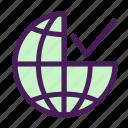 approve, check, globe, internet, world icon