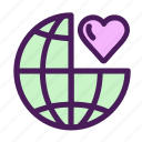 globe, heart, like, love, world icon