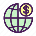 dollar, globe, money, payment, world icon