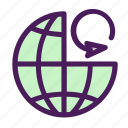 arrow, file, globe, reload, world icon