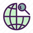 globe, magnifier, net, search, world icon