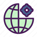 change, gear, globe, setting, world icon
