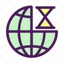clock, globe, loading, net, time icon