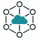 cloud, communication, connection, datacenter, diagram, internet, network icon