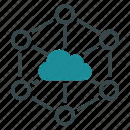 cloud, communication, connection, datacenter, diagram, internet, network icon