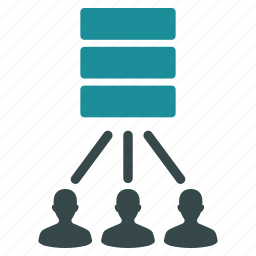 connection, database, links, network, server, storage, users icon
