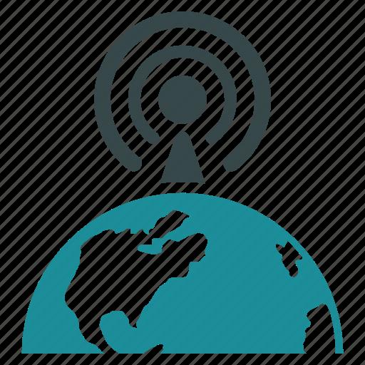 broadcast, center, international, internet, network, news, radio signal icon