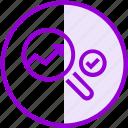 check, graph, magnifier, search, seo, success icon