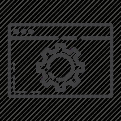 browser, cogwheel, development, gear, optimization, seo, web icon