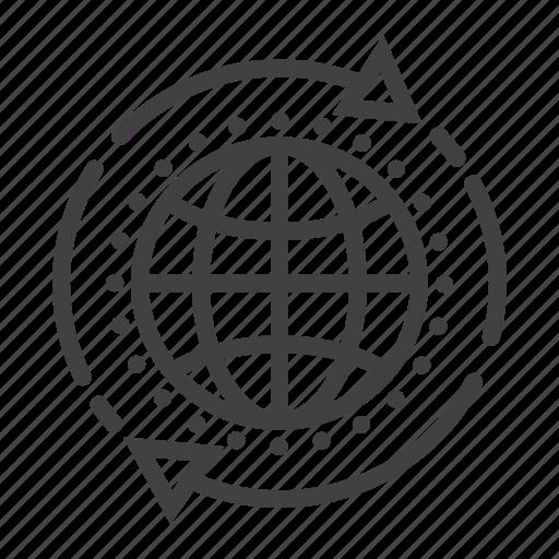 app, arrow, development, global, globe, seo, solution icon