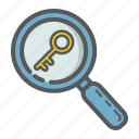 find, keyword, lens, magnifier, research, seo, zoom icon