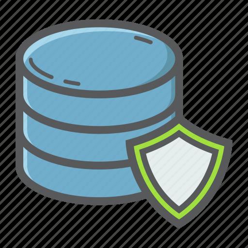 data, database, development, protection, seo, server, shield icon