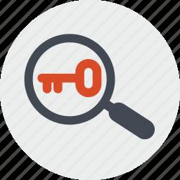 internet, key, keyword, line, research, seo, website icon