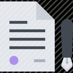 contract, document, file, pen icon