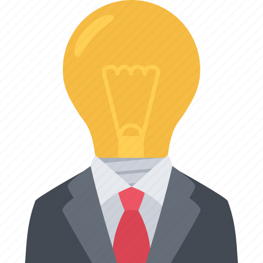 idea, lightbulb, suit, think icon
