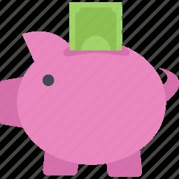 money, money box, pig, savings icon