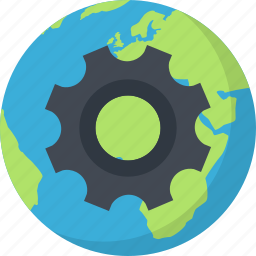 earth, network, optimization, planet, settings icon