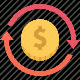 investment, money, return, return of investment icon