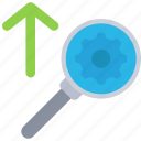 cog, cogwheel, glass, magnifying, seo, submission icon