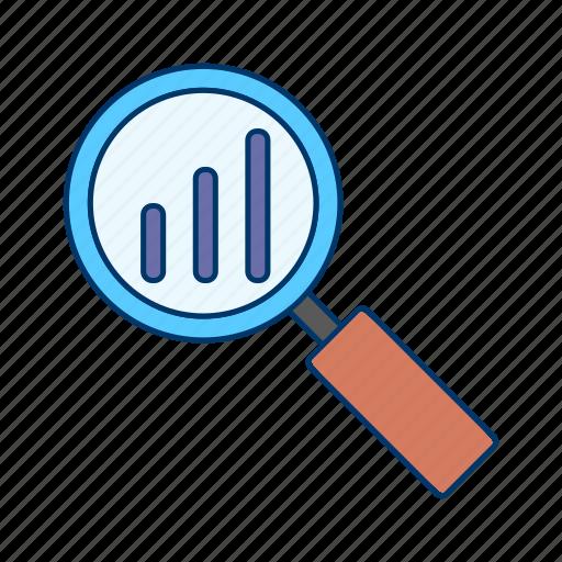 analysis, data, glass, magnifying, market, ranking icon