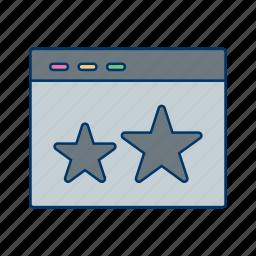 browser, screen, starred, stars, url, web, website icon