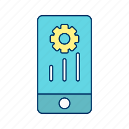 gear, marketing, mobile, phone, settings icon