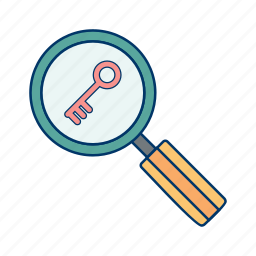 find, glass, keyword, magnifying, search, tags icon