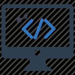clean code, codding, custom development, monitor, optimization, programming, screen icon