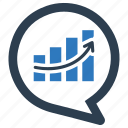 analysis, analytics, diagram, growth, message bubble, report, statistics icon