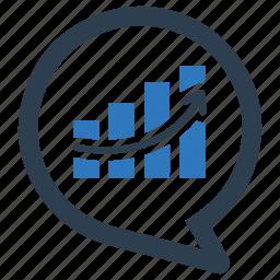 analysis, analytics, diagram, growth, message bubble, report, statistics icon