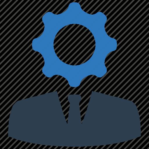 business, businessman, gear, job, settings, specialist, work icon