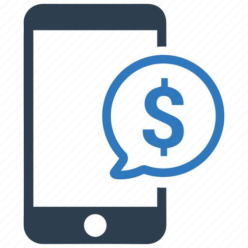 dollar, earnings, mesage bubble, mobile, money, payment, smartphone icon
