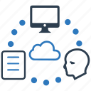 cloud, cloud computing, computer, document, file sharing, head, storage icon