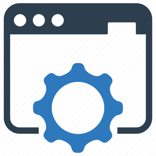 browser, gear, online, work icon