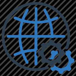 gear, global, network, option, settings, world, worldwide icon