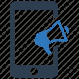 advertising, marketing, megaphone, mobile, phone, promotion, speaker icon