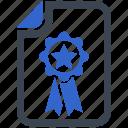 agreement, award, certificate, diploma, prize