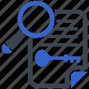 key, keyword, research, search icon