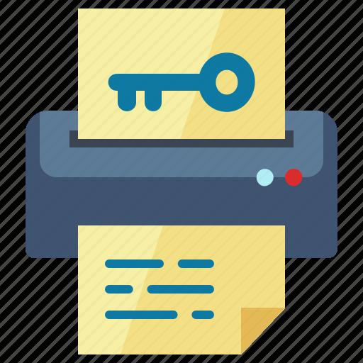 file, key, keywords, printer, printing icon