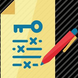 education, file, keyword, pen, writing icon