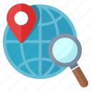globe, gps, location, navigation, pin, searching icon