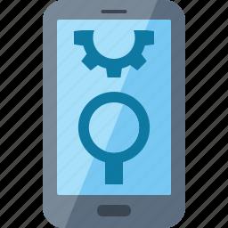 gear, internet marketing, mobile seo, optimization, search engine icon