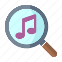 musical note, play, search music icon