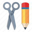 edit, management, pencil, scissors, web content icon